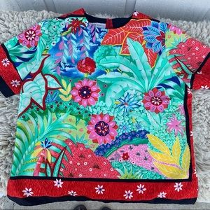 Vintage short sleeve blouse bright floral pattern